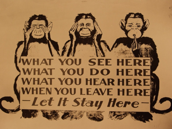 Billboard with 3 monkeys urging silence 1943 (OR)_0